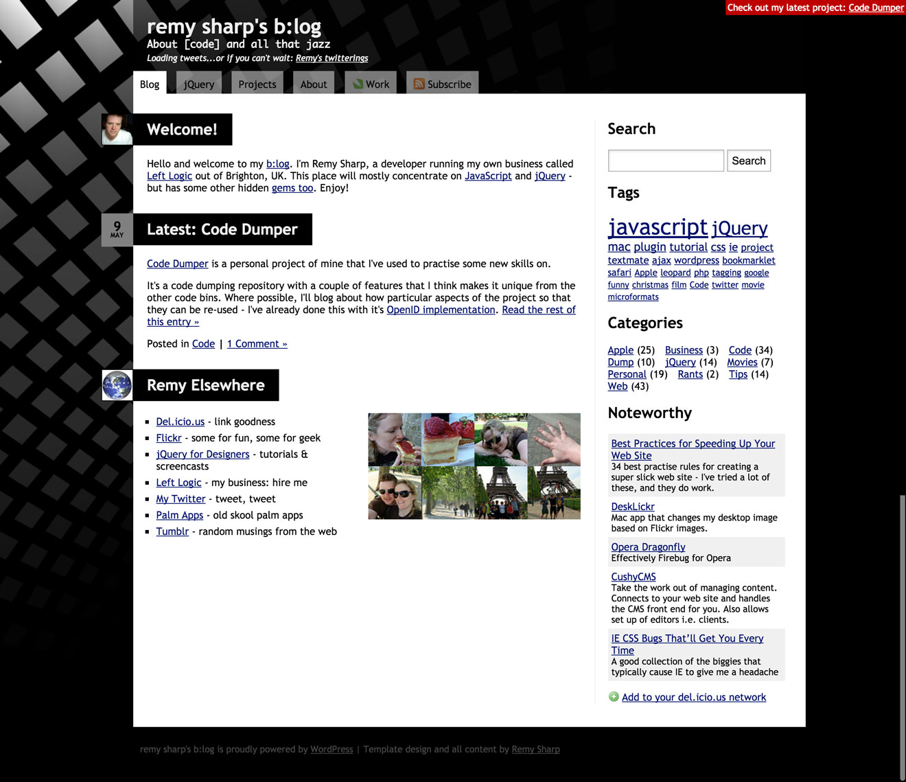 Screenshot of my blog from 2008