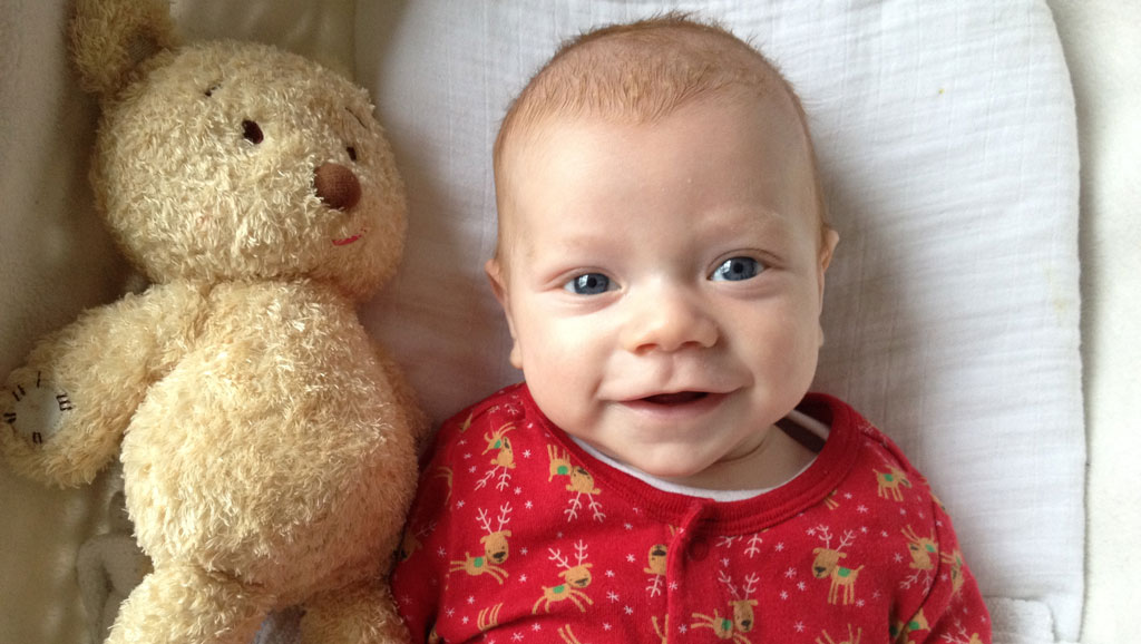 Ellis with Tia's bear