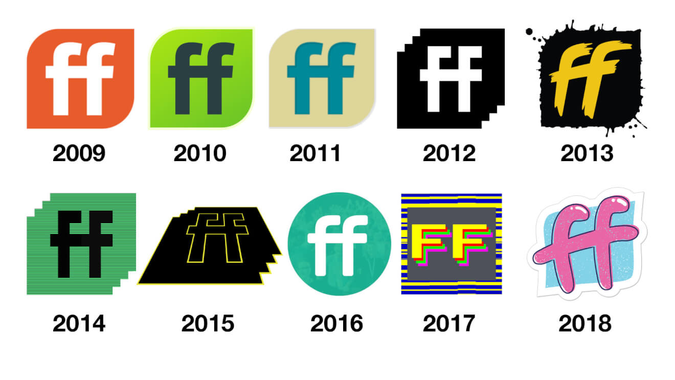 10 years of ffconf logos