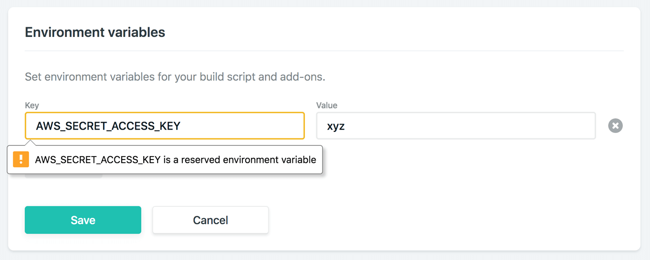 AWS env value error