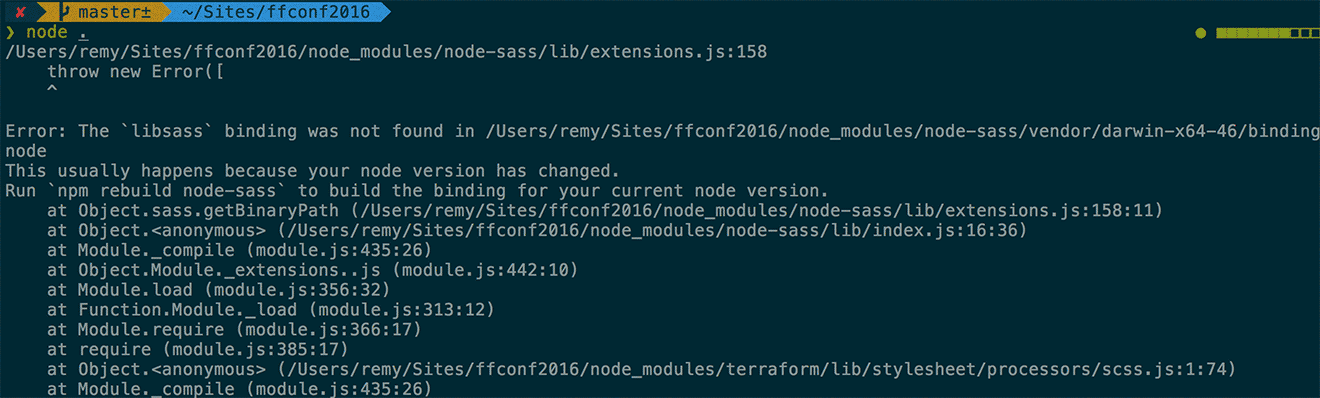 node crashes because node 6 is required for this particular project