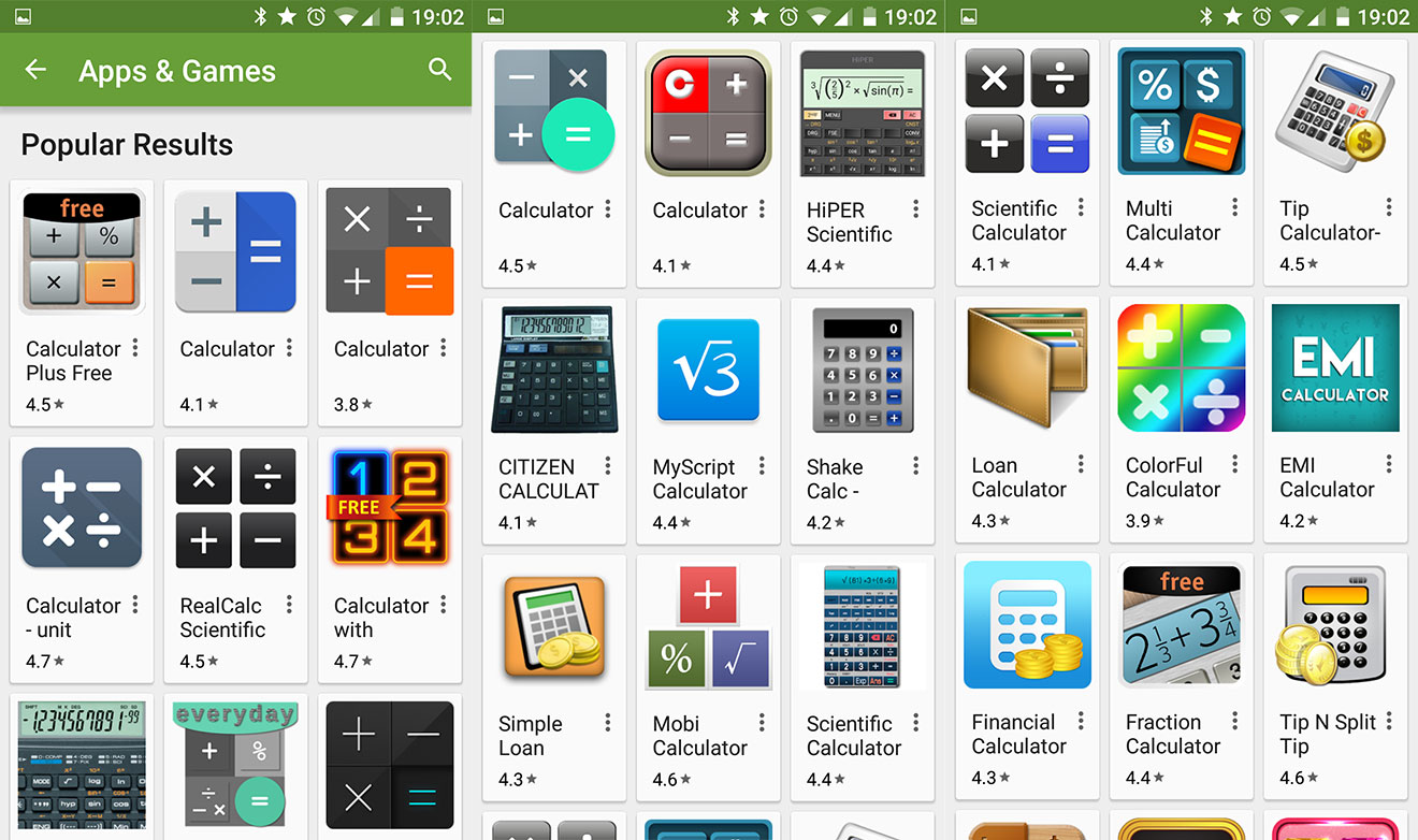 Play store calculation options: a plenty