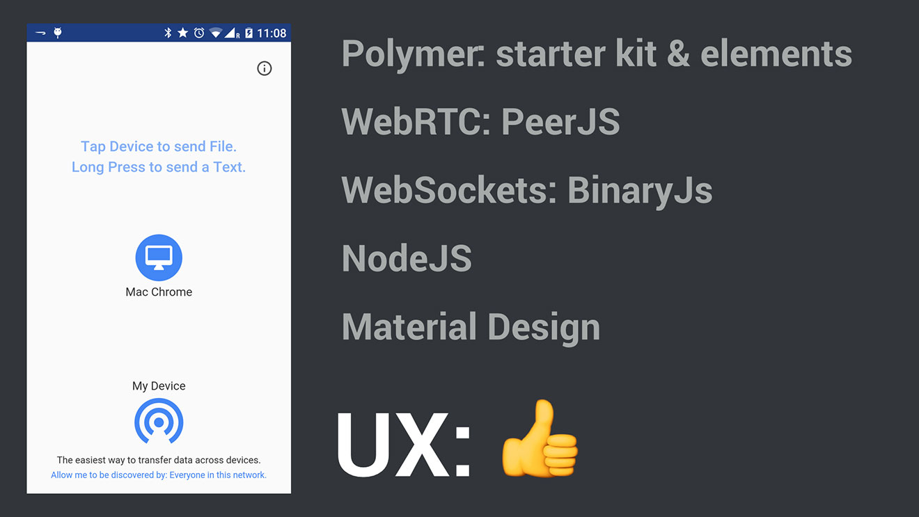 Polymer: starter kit & elements, WebRTC: PeerJS, WebSockets: BinaryJs, NodeJS, Material Design and perfect UX