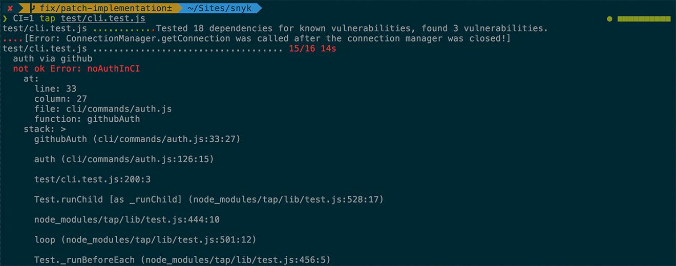 tap error output