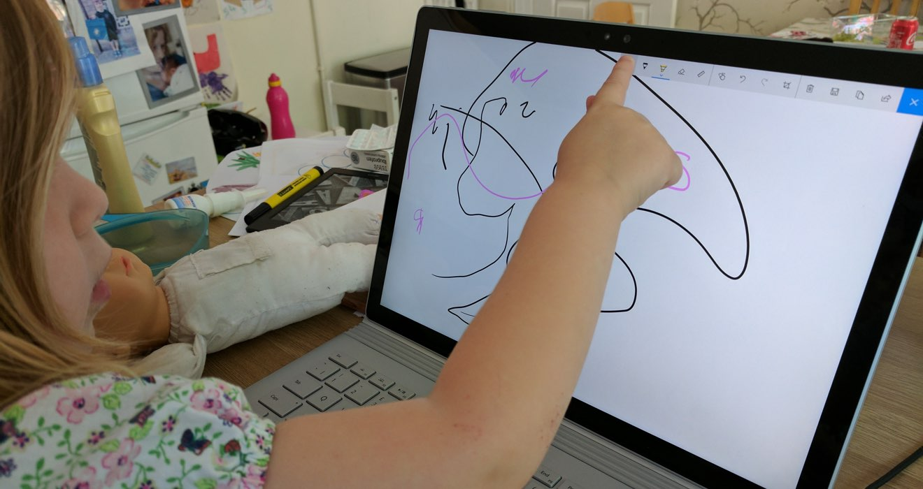My daughter drawing with the surface